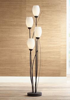 Torchiere floor lamps lamps plus black metal and white glass tulip 4 light floor lamp mozeypictures Image collections