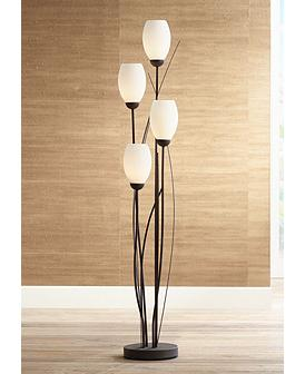 Black Metal And White Gl Tulip 4 Light Floor Lamp