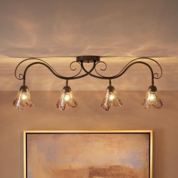 Organic Amber Glass 4-Light Ceiling Track Fixture