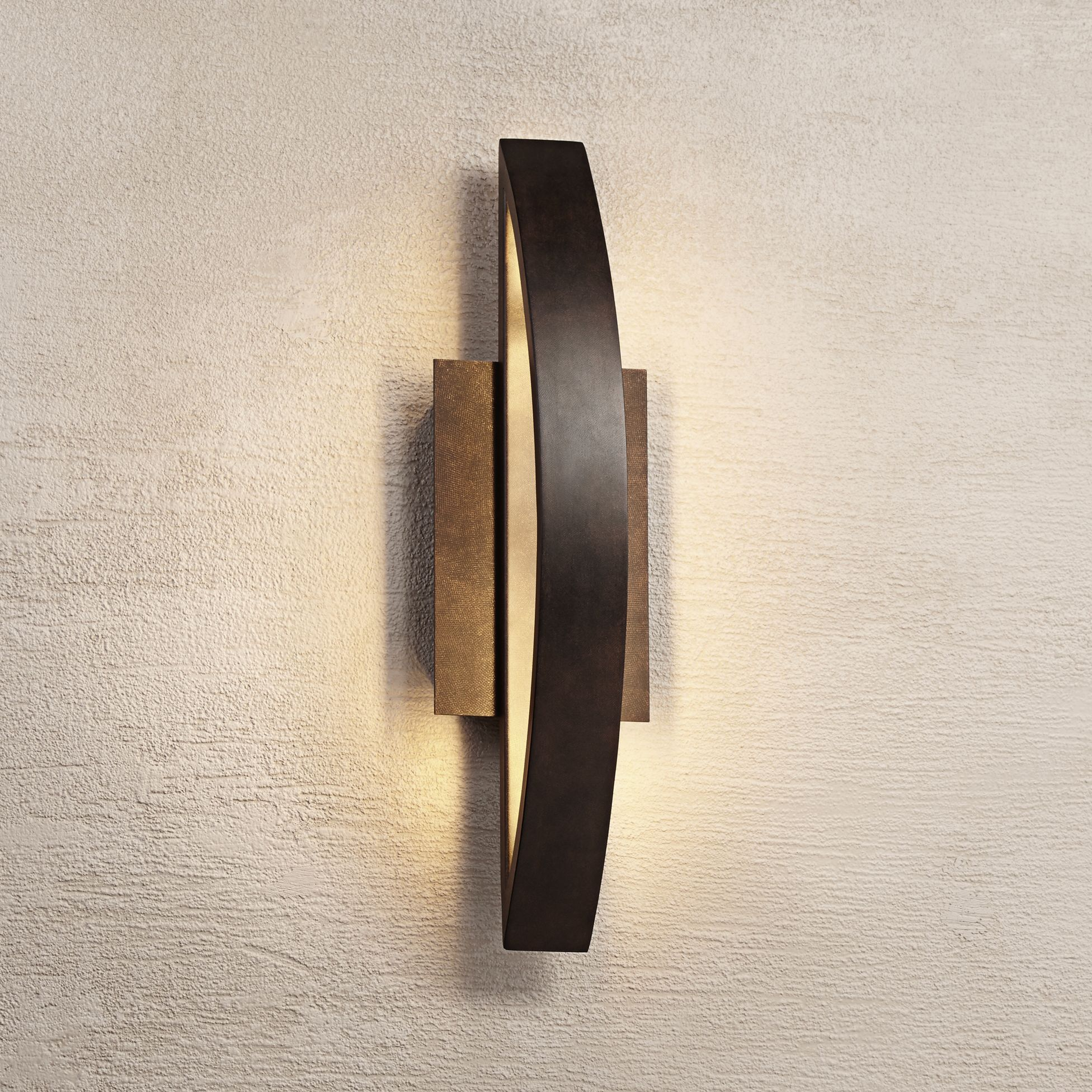 Bon Possini Euro Coppered Arch Indoor Outdoor LED Wall Sconce