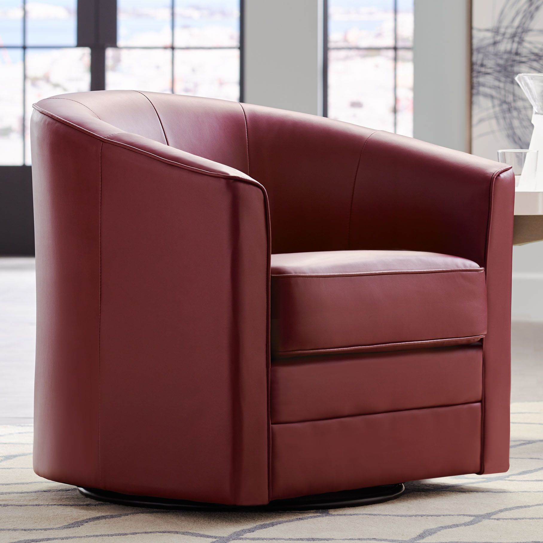 Merveilleux Keller Scarlet Red Bonded Leather Swivel Club Chair