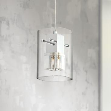 "Square Glass 4 3/4"" Wide Mini Pendant Light"