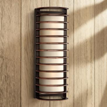 "John Timberland Bronze Grid 16 3/4"" High Outdoor Wall Light"