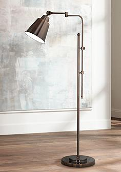 Swing arm floor lamps lamps plus ott lite provo oil rubbed bronze adjustable floor lamp mozeypictures Choice Image