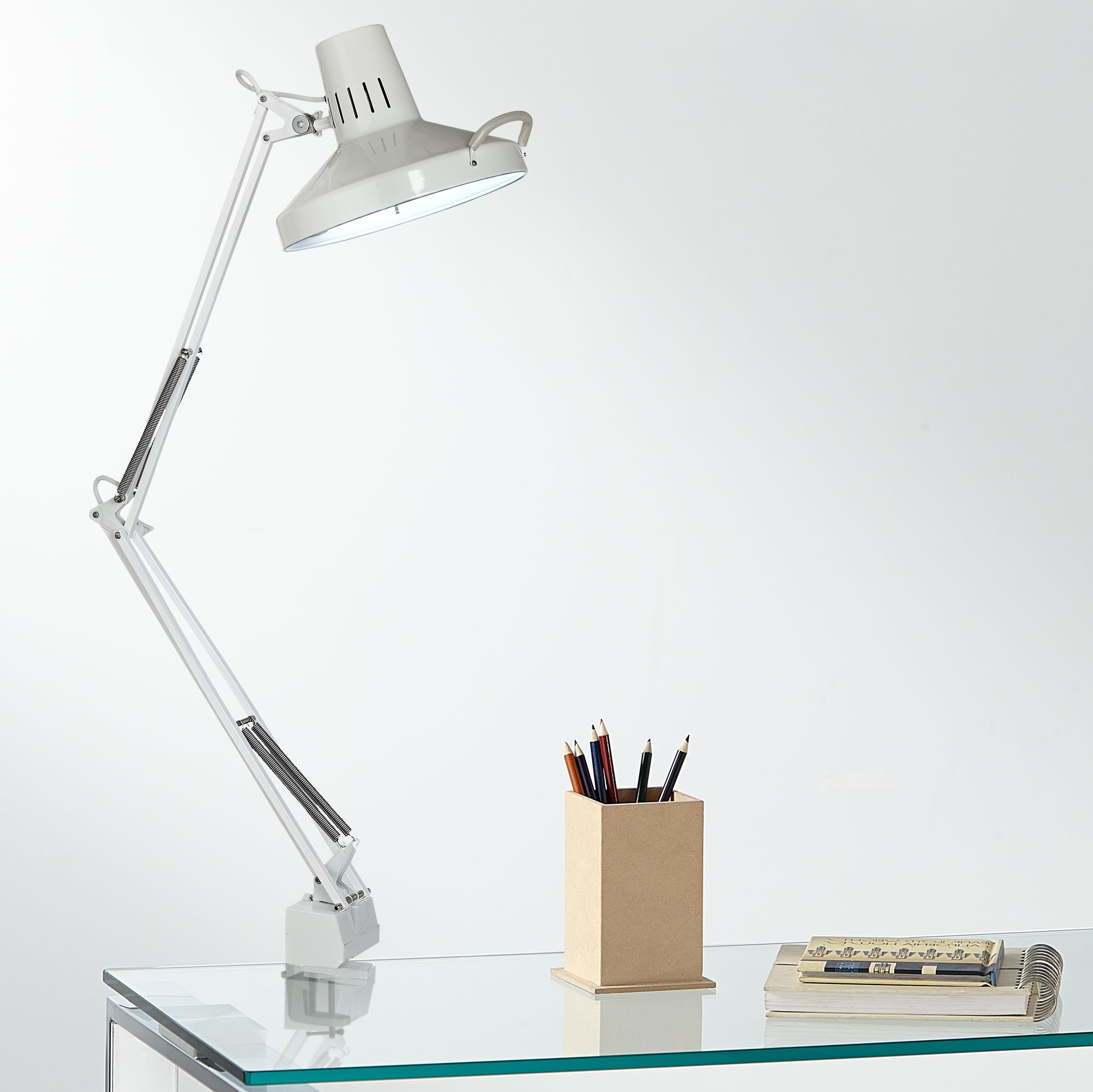 Architect Style White Metal Clamp On Adjustable Desk Lamp