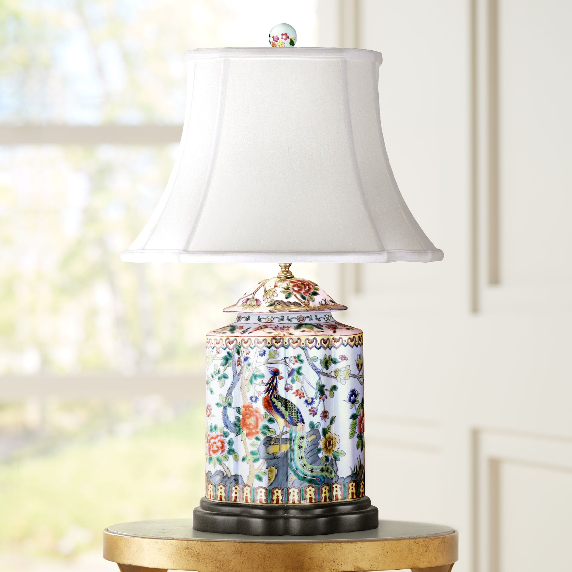 Superieur Famille Rose Scalloped Tea Jar Porcelain Table Lamp
