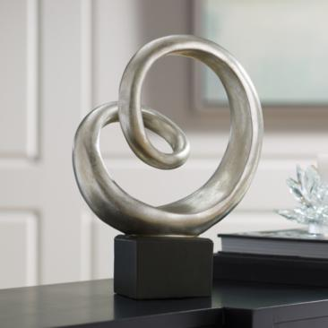 "Slanted Spiral 16"" High Silver Finish Modern Sculpture"