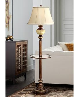 Kathy Ireland 65 High Night Light Gl Tray Floor Lamp