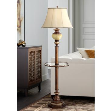 "Kathy Ireland 65"" High Night Light Glass Tray Floor Lamp"