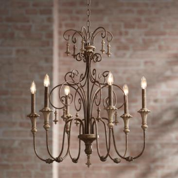 "Scrolled Tiers 28""W Beige Accents Bronze 6-Light Chandelier"