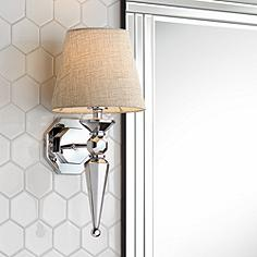 Chrome sconces lamps plus clarice gray fabric shade 17 14 audiocablefo