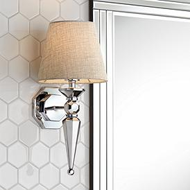 Clarice Gray Fabric Shade 17 1 4 High Chrome Wall Sconce