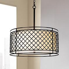 Drum pendant lights drum shade pendant lighting lamps plus lattice 4 light 20 14 wide bronze pendant light mozeypictures Gallery