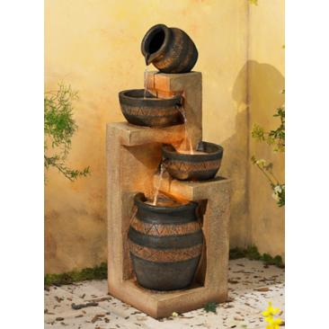 "Stoneware Bowl and Jar Indoor-Outdoor 46""H LED Fountain"