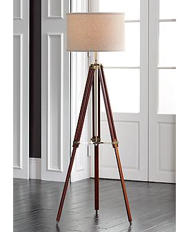 Surveyor Cherry Wood Tripod Floor Lamp By Possini Euro