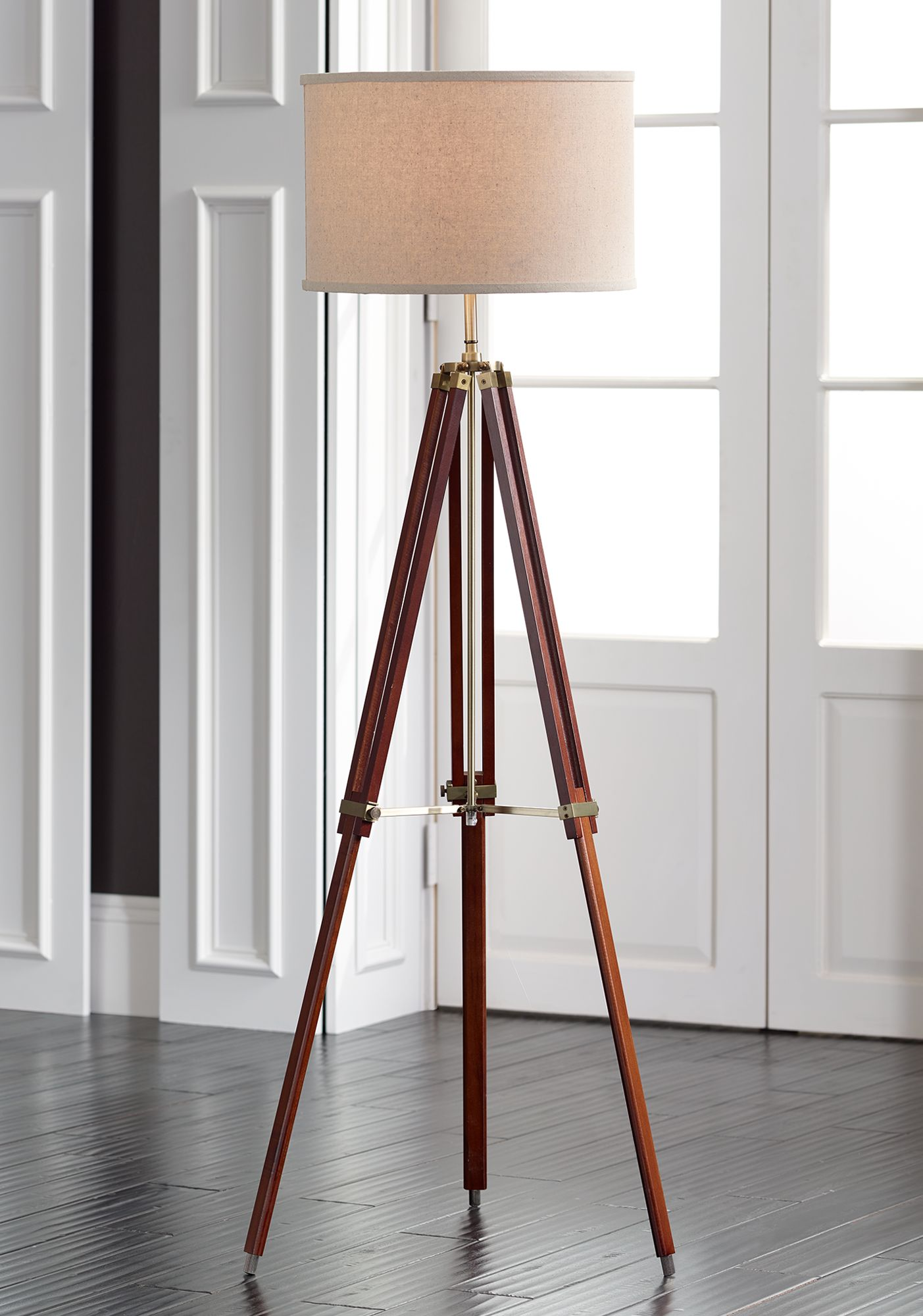 Possini Euro Cherry Finish Wood Surveyor Tripod Floor Lamp