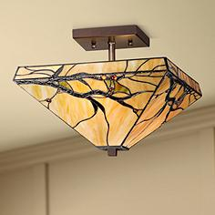 Tiffany Semi Flush Mount Close To Ceiling Lights