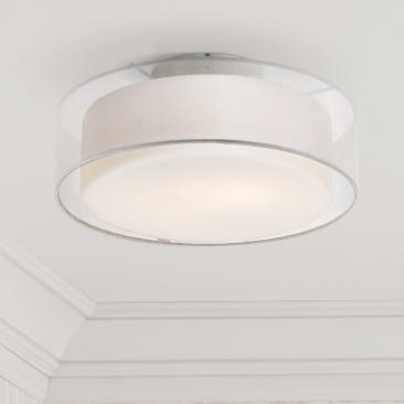 "Opal White Dual Shade 12 1/2"" Wide Drum Ceiling Light"