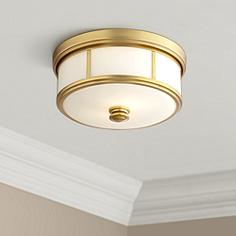 Brass antique brass flush mount close to ceiling lights harbour point 13 12 wide etched opal glass ceiling light mozeypictures Images