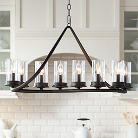 Heritage 44 Wide Bronze 10 Light Island Chandelier