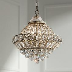 wallingford 16 wide antique brass and crystal chandelier - Bedroom Chandelier