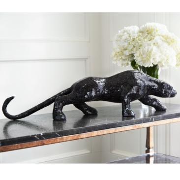 "Glass Mosaic 29 1/4"" Wide Black Panther Table Sculpture"