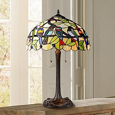 Multi color table lamps lamps plus tropical birds robert louis tiffany table lamp mozeypictures
