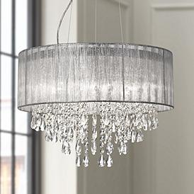 Possini Euro Jolie 20 W Silver Fabric Crystal Chandelier