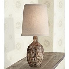 Transitional table lamps lamps plus chalane hammered antique bronze table lamp mozeypictures Image collections