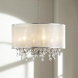 Possini Euro Farina 23 Wide Organza Silver Pendant Light