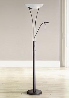 Black floor lamps lamps plus lite source avington black reading light torchiere lamp aloadofball Choice Image
