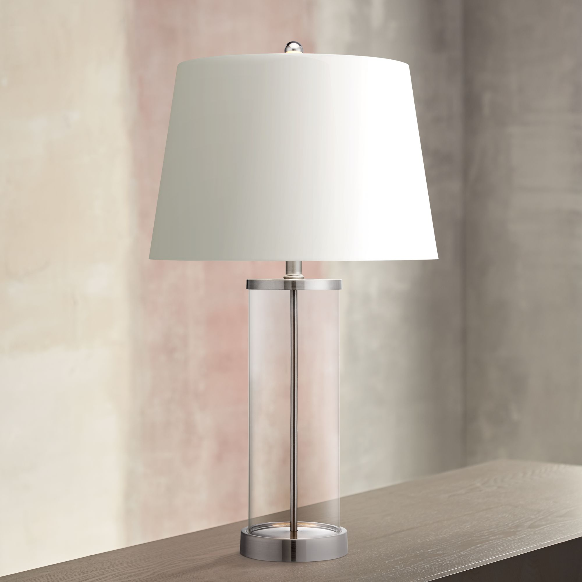 Charmant Glass And Steel Cylinder Fillable Table Lamp
