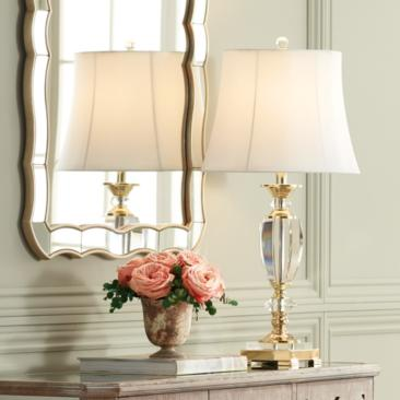 Vienna Full Spectrum Crystal and Brass Table Lamp