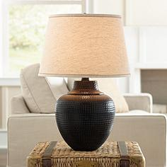 Living family room table lamps lamps plus canada brighton hammered pot bronze table lamp aloadofball Gallery