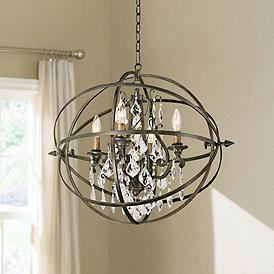 Byron 21 Hand Worked Bronze And Crystal Chandelier