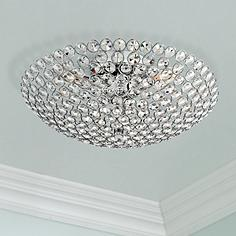 Crystal semi flush mount close to ceiling lights lamps plus possini euro design geneva 16 wide crystal ceiling light aloadofball Gallery