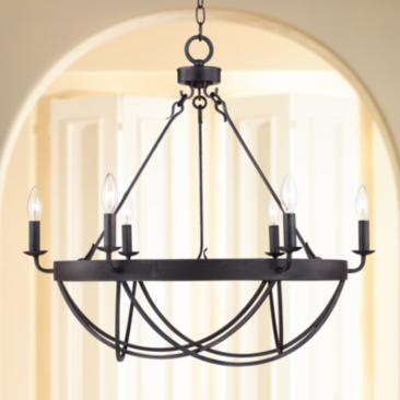 "Lyster Square 28"" Wide Oil-Rubbed Bronze Chandelier"