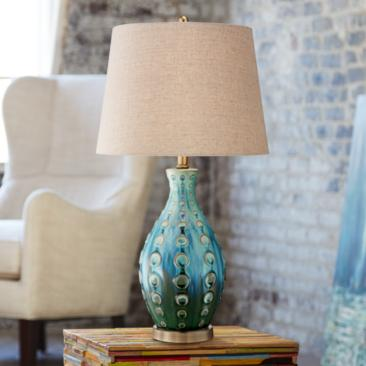Mid-Century Ceramic Vase Teal Table Lamp