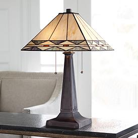 Mission Square Art Gl And Bronze Table Lamp