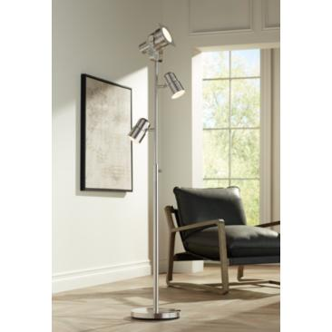 Possini Euro Nuovo Brushed Nickel 3-Light Floor Lamp