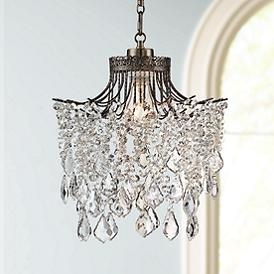 Brielle Antique Br 12 Wide Crystal Plug In Swag Pendant