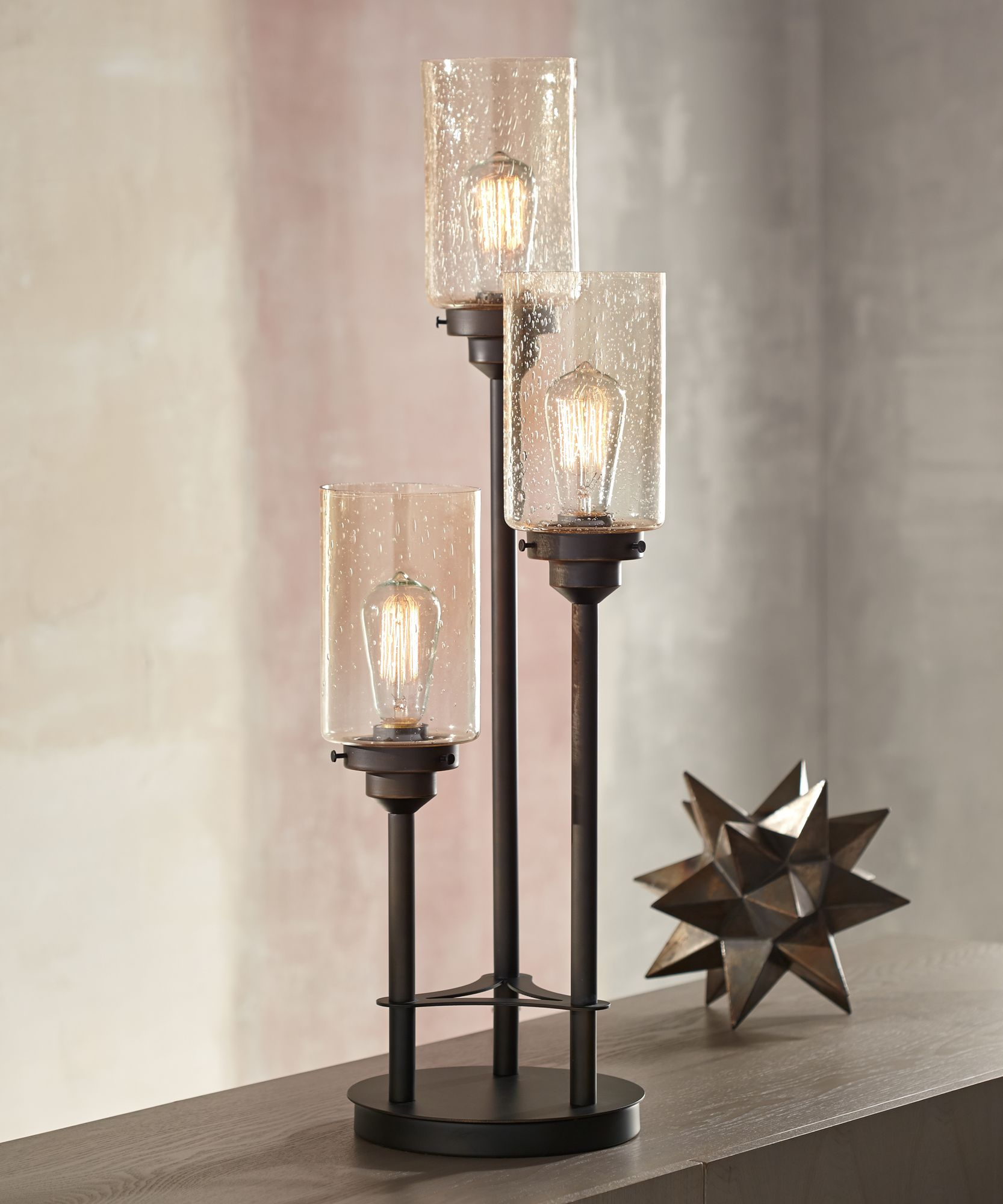 Beau Libby 3 Light Industrial Console Lamp With Edison Bulbs