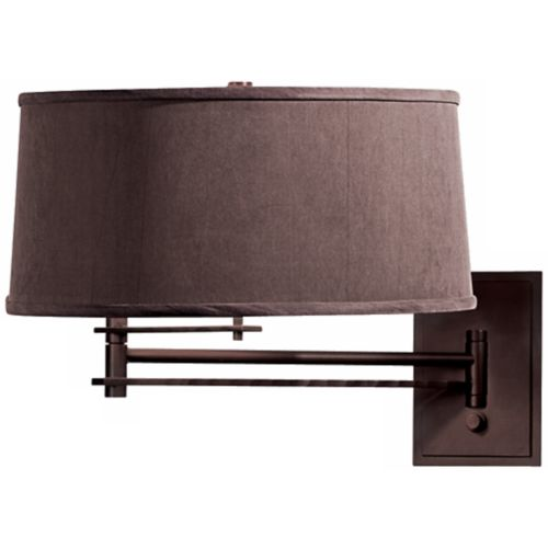 Mahogany Metal Dark Gray Shade Hardwire Swing Arm Wall Lamp