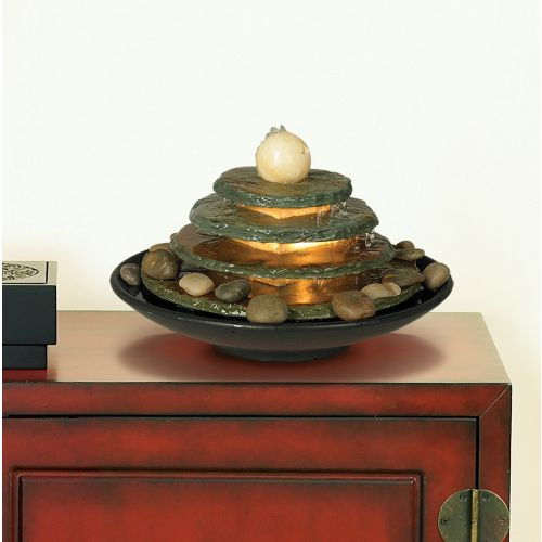 "Pyramid 10"" High Feng Shui Ball Lighted Table Fountain"