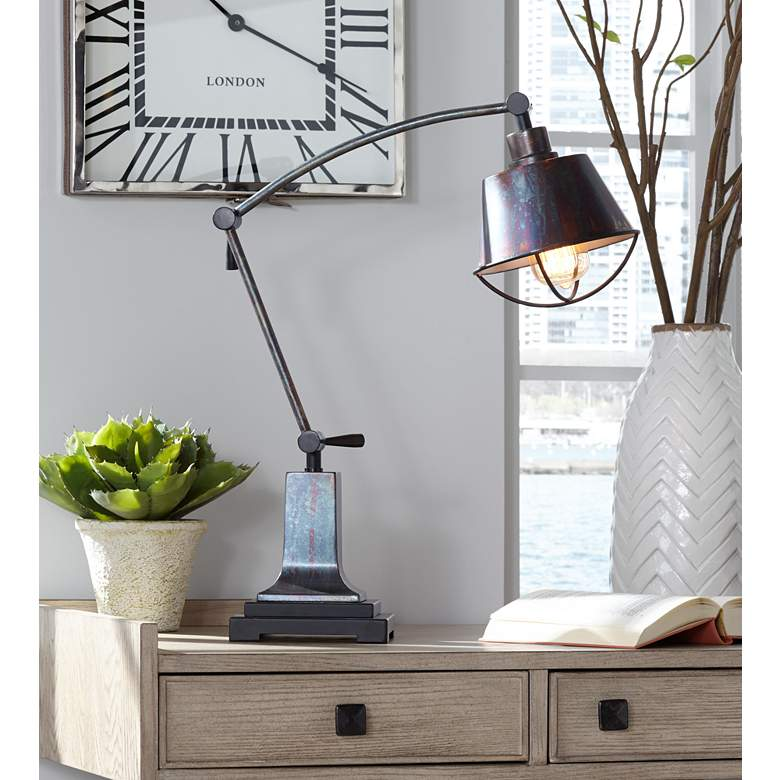 Henry Adjustable Arm Farmhouse Desk Lamp by Uttermost in scene