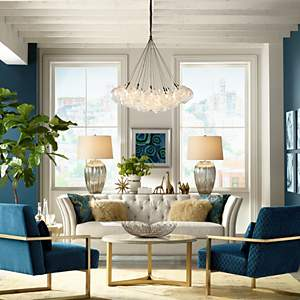 make a statement with stunning symmetry - Chandelier Living Room Ideas