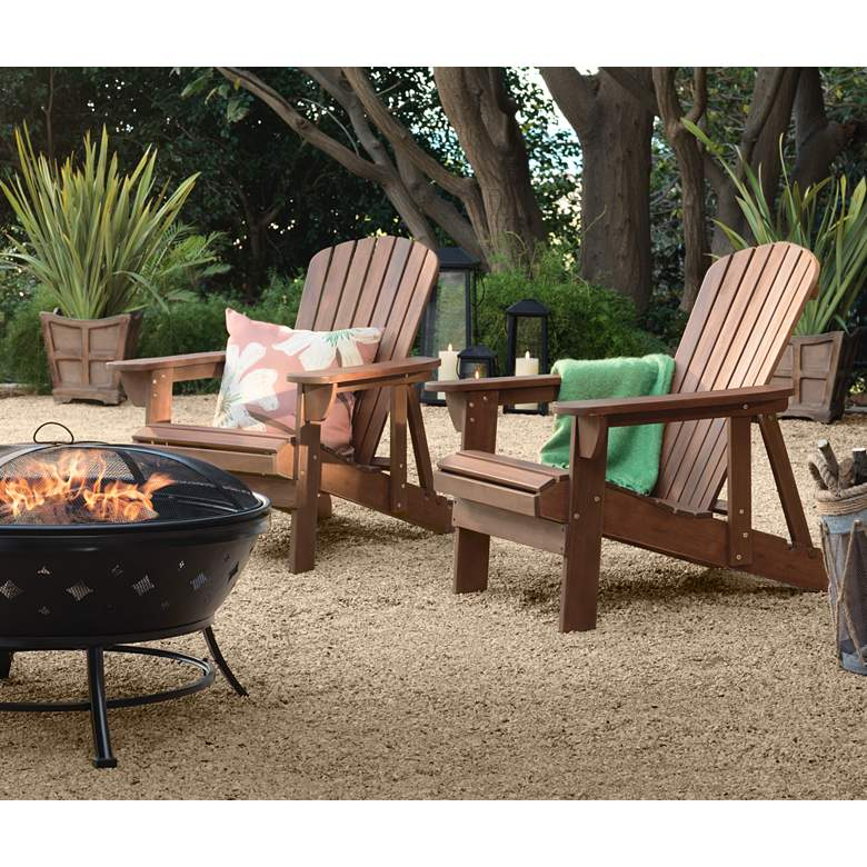Fletcher Dark Wood Outdoor Reclining Adirondack Chair in scene