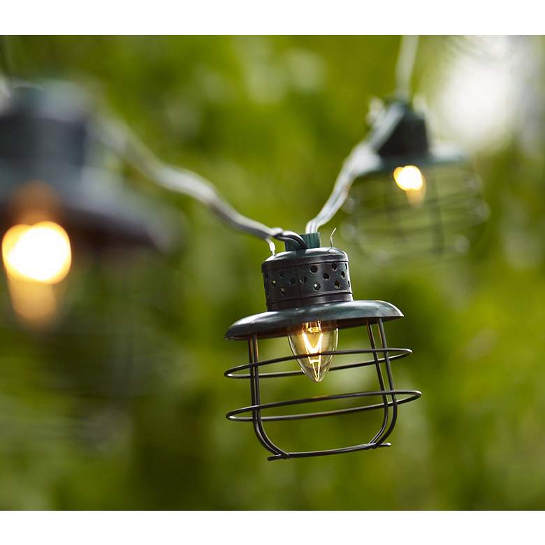 Metal Cage Lantern String Party Lights - 10 Light Strand in scene