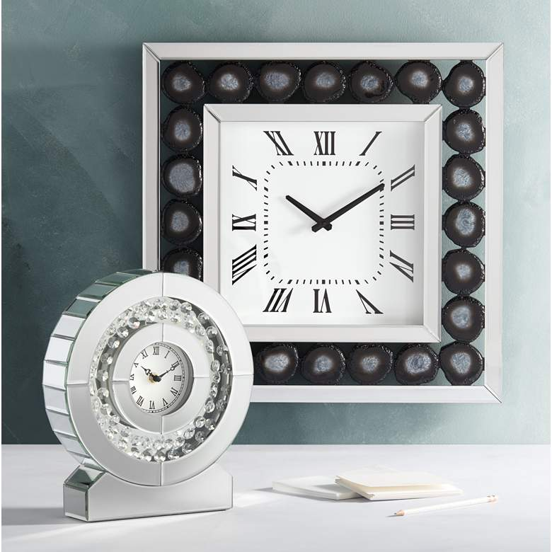"Delria Agate 21"" Square Wall Clock in scene"