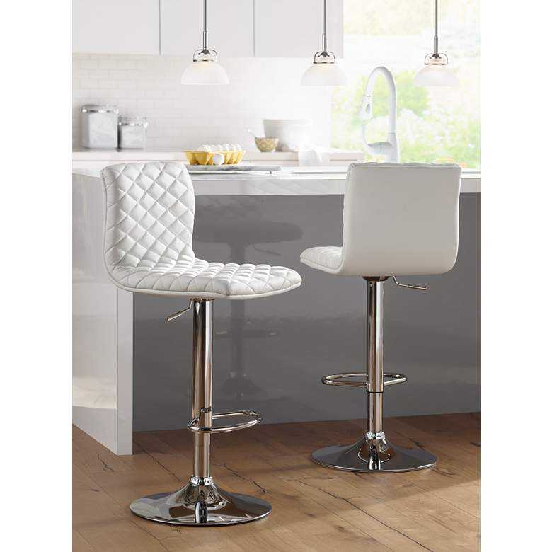 Caviar Chrome and White Adjustable Swivel Bar Stool in scene